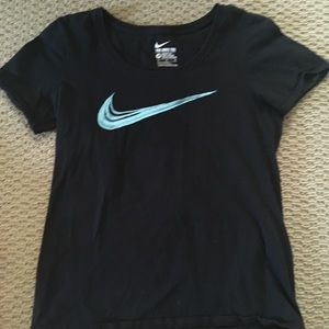Black Nike tee with light blue swoosh